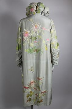 1920's Dove Grey Silk Coat with Asian Embroidery | From a collection of rare vintage jackets at http://www.1stdibs.com/fashion/clothing/jackets/