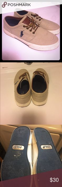 Authentic Polo Ralph Lauren Shoes EUC. Authentic Polo Ralph Lauren Shoes. Tan with blue emblem. No stains or water damage. Polo by Ralph Lauren Shoes Boat Shoes