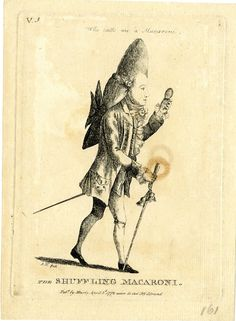© The Trustees of the British Museum.  The Shuffling Macaroni.  Social satire: a macaroni looking at himself in a hand-mirror as he walks.  2 April 1772  Etching, Matthew Darly