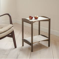 The handmade traytable have two trays, that are made of solid wood and easily removed from the table frame. The tray table measures H 52,5 cm x L 43 cm x W
