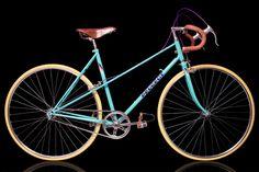 Bike I made my girlfriend for a b-day present.  Specs Frame: Peugeot Deauville mixte Saddle: Brooks team pro classic, honey Bar tapes: Brooks, honey Brake levers: Weinmann Brake cables: DK Alpha, purple Toe clips: Sakae SR Toe straps: Brooks, honey Chain: KMC Hubs: Maillard Freewheel: Dicta 18t Tyres: CST Super HP 28-622, yellow