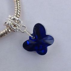 Butterfly Charm Dangle Blue faceted glass charm. Fits pandora. Silver tone. New! Jewelry
