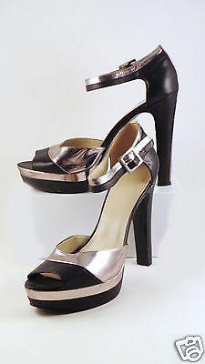 Nine-West-Stilettos-10M-Black-Silver-Ankle-Straps-Platform-Shoes-Womens-Hi-Heels