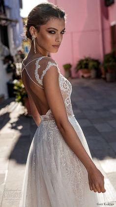 gali karten 2018 bridal cap sleeves scoop neckline heavily embellished bodice romantic soft a line wedding dress keyhole back medium train (2) zbv