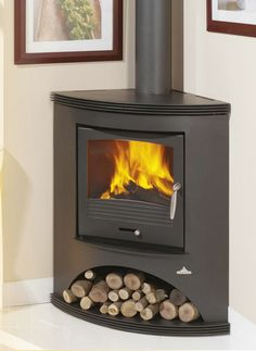 Gallery of Bronpi Corner Wood Burning Stoves - Wales Corner Log Burner, Wood Burning Stove Corner, Wood Burning Logs, Corner Stove, Freestanding Fireplace, Small Fireplace, Stove Fireplace, Fireplace Design, Fireplace Ideas