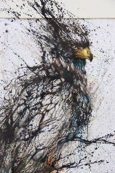Splattered ink effect eagle by Awesome mural detail by Hua Tunan in China.