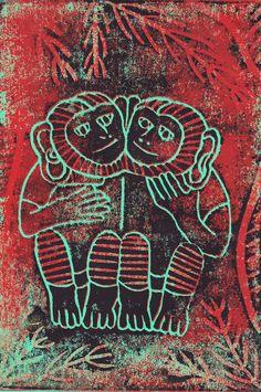 Indian Monkeys | Linocut ©Beth Reeves