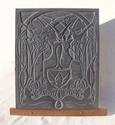 Hand carved aberllefenni slate (welsh slate) Wall Mounted or Wall Hanging sculpture by artist Jon Evans titled: 'Inspiration (Idyllic Woodland and Animal Bas Relief Slate Carving)'