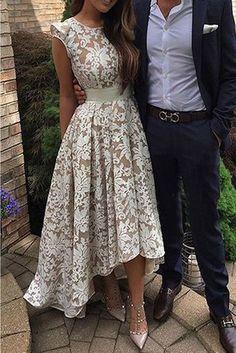 Would make a unique wedding dress. prom dresses 2017 high low prom dresses,lace prom dresses,cap sleeves prom dresses,chic lace prom party dresses