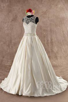 Grand A-Line Natural Satin Ivory Sleeveless Zipper With Button Wedding Dress with Sashes B14A8061 #weddingdress #cocomelody