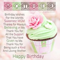 Happy birthday to the most wonderful woman in the world my mom happy birthday cards birthday wishes fore the worlds sweetest mom m4hsunfo