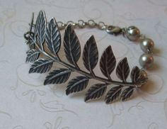 Fern. Antiqued Silver Branch and Pearl Bracelet - Mother's Day, fall fashion jewelry, birthday, anniversary gift. $20.50, via Etsy.
