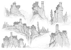 Badland Buildings by Daniel Allison on ArtStation. Fantasy City, Fantasy Castle, Fantasy Map, Fantasy World, Environment Sketch, Environment Design, Landscape Concept, Fantasy Landscape, Castle Drawing