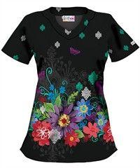 UA Floral Fantasy Black Print Scrub Top