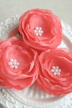Coral Flower Hair Clips Romantic Wedding Floral by BelleBlooms
