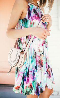 Watercolor floral print dress