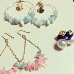 天然石や珊瑚など、夏モチーフのピアスです。オーダー頂ければ販売致します。|ハンドメイド、手作り、手仕事品の通販・販売・購入ならCreema。