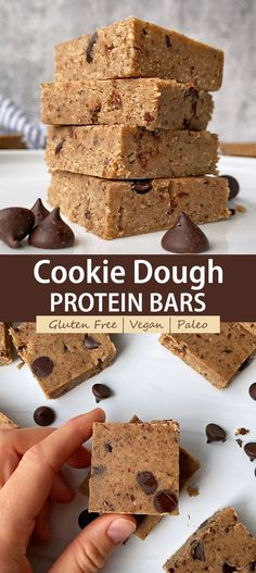 These homemade cookie dough protein bars are the perfect low sugar, high protein snack. They are Paleo, Vegan, low carb and easy to make. These vegan cookie bars are no bake and taste like actual cookie dough! #cookiedoughbars #proteinbar #paleo #vegan Low Sugar Protein Bars, Low Carb Protein Bars, Protein Bar Recipes, High Protein Snacks, Low Carb Recipes, Vegan Recipes, Snack Recipes, Free Recipes, Vegan Desserts