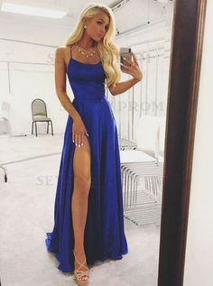 A Line High Slit Spaghetti straps Backless Royal Blue Long Prom Dresses Under 100 with Pockets, Simple Elegant Evening Dresses – Dress girl – Kleider Winter Formal Dresses, Blue Evening Dresses, Prom Dresses Blue, Pretty Dresses, Evening Gowns, Long Dresses, Dress Prom, Dress Long, Evening Party