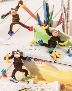 """Affen aus Pfeifenputzern (Idee mit Anleitung – Klick auf """"Besuchen""""!) - Gib dem Affen ordentlich...Pfeifenputzer und Bananen! Diese Bastelidee ist keineswegs affig auf einem Kindergeburtstag!"""