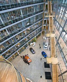 Verwaltungsgebäude der Audi AG, und Kundencenter der Audi AG in Ingolstadt.    Administrative building and customer center of the Audi AG in Ingolstadt. by Robert Lesti, via Flickr.  February 19, 2010 in Ingolstadt, Bavaria, DE, using a Nikon D700.