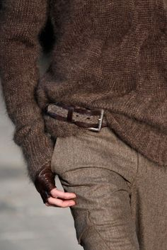 equestrian x brown : knit sweater, cargo trousers, patent leather sniper glove.