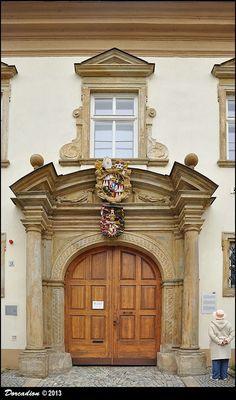 """Baroque portal of Canon's Residence """"Residentia Schroffeliana"""" (Olomouc, Central Moravia) Olomoucky kraj, Czech Republic"""