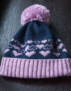 Navy and pink #KnittingAll #beanie #mohair #acryl