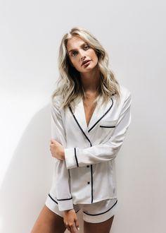 Super comfy silk-like white pyjamas with style. The Laze shirt and short pyjama set is a stylish go-to for relaxation. Cozy Pajamas, Silk Pajamas, Pyjamas, Pyjama Satin, Pajama Outfits, Victoria Secret Outfits, Cool Outfits, Fashion Outfits, White Trousers