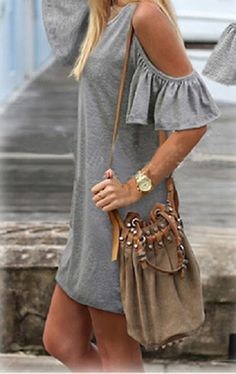 Grey Cold Shoulder Ruffle Sleeve