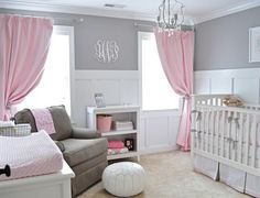 Wall Monogram in Gray and Pink Nursery -   Plus my favorite kids furniture- Newport Cottages!
