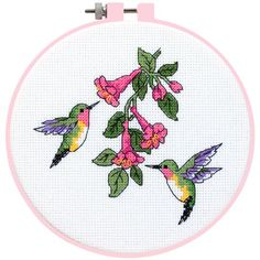 Free Printable Cross Stitch Patterns | The Hummingbird Duo Counted Cross Stitch Kit is from the Learn-a-Craft ...