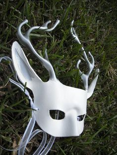 Winter Deer Mask - White and Silver Stag. $65.00, via Etsy.