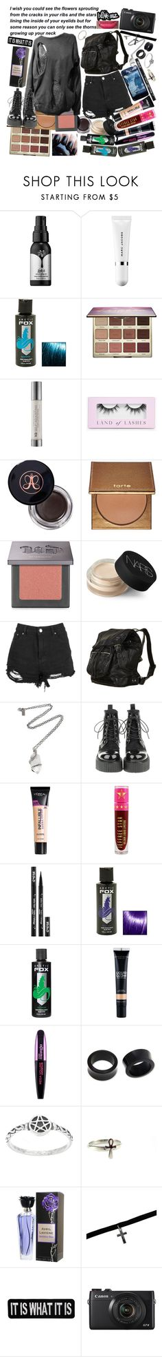 """""""And sometimes I relapse as I go through my days, because without you it's just not the same, part of my family was taken away"""" by thelyricsmatter ❤ liked on Polyvore featuring Kat Von D, Marc Jacobs, Hot Topic, tarte, Urban Decay, Boohoo, Anastasia Beverly Hills, NARS Cosmetics, Pamela Love and L'Oréal Paris"""