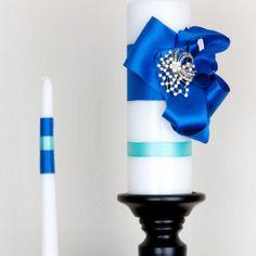 Tiffany royal blue unity candles