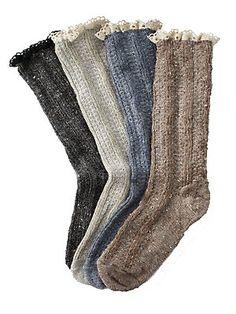crochet heather lace sock - socks - footwear - Gorsuch