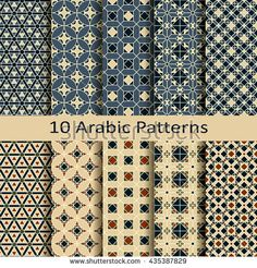 set of ten seamless vector arabic traditional patterns Islamic Patterns, Textile Patterns, Textile Design, Print Patterns, Arabian Pattern, Arabic Design, Moroccan Pattern, Evolution Of Fashion, Thai Art
