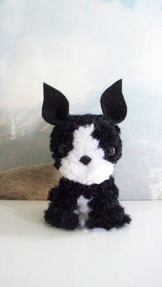 Boston Terrier Yarn Pom-Pom Puppy by YuriandYanvar on Etsy
