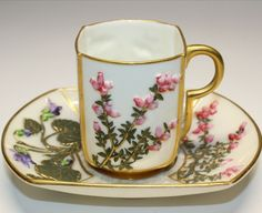 Century Worcester Vintage Cup and Saucer England with High Relief Flowers and Lily Pad Chintz . Antique Tea Cups, Vintage Cups, Vintage Tea, Tea Cup Set, Cup And Saucer Set, Tea Cup Saucer, English Tea Cups, Espresso Cups, Coffee Cups