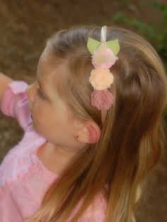 Carnation Flower Headband  Pink Cream and by Sweetlittleblossoms