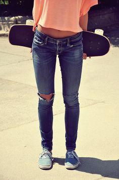 skateboard vans skinny jeans peach shirt