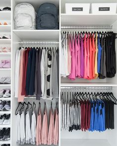 Small Clothes Closet Organization Diy How To Organize 46 Ideas Teen Closet Organization, Wardrobe Organisation, Closet Storage, Clothing Organization, Storage Organization, Wardrobe Storage, Closet Shelves, Color Coded Closet, Closet Colors