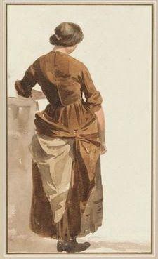 """Girl in Brown Dress"" Joshua Cristall (1768-1847) undated"