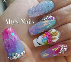 Our obsession with unicorn everything is never running out! Whether you want to go all out and emboss an actual unicorn horn onto your nail or simply embrace these unicorn-inspired shades from Nails Inc we think it's definitely a nail trend to try! Unicorn Nails Designs, Unicorn Nail Art, Dope Nails, 3d Nails, Coffin Nails, Fabulous Nails, Gorgeous Nails, Acrylic Nail Designs, Nail Art Designs