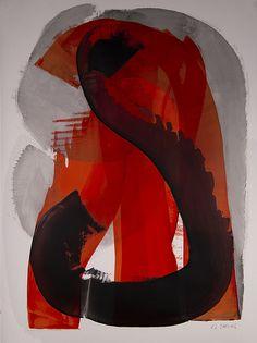 Red Wave 2, ink, oil & cold wax- Karen Darling
