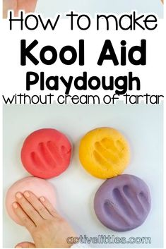 Do you love a great homemade play dough recipe as much as we do? Here is how we make our Kool-aid Play doh recipe without cream of tartar. Fun for kids! Koolaid Playdough, Slime, Plato Recipe, Projects For Kids, Diy For Kids, Play Doh For Kids, Science Projects, Kids Crafts, Kool Aid Play Dough Recipe