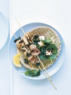 chicken, haloumi and preserved lemon skewers, serve with tzatziki and cucumber ribbons