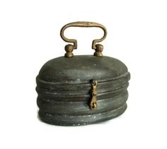 Sturdy SOAP dish vintage tin & copper BOX Turkish hamam bath house CASE Antique brass handled rugged container