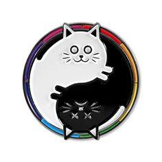 Schrodinger's Yin Yang - Spinning Cat Pin