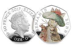 Beatrix Potter 2017 50p Silver Proof Coins Benjamin Bunny Obverse Reverse